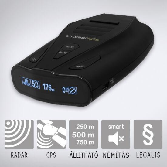 KIYO VTX950GPS radar- és lézerdetektor GPS adatbázissal