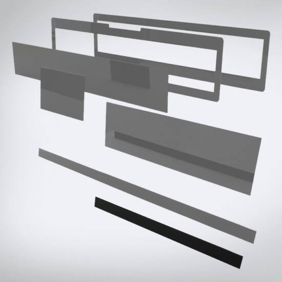 Speciális perspex lap egyedi méretben ( közepes léc, 505x30)